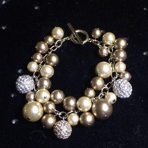 Carolee simulated pearls cluster bracelet